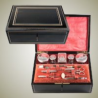 Antique French Sewing and Vanity Travel Box, Casket, Napoleon III Necessaire Sterling Silver & Plate