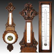 "Antique Victorian Era 31"" Wall Barometer & Thermometer, Lovely Carved Walnut Case"