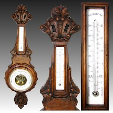 """Antique Victorian Era 31"""" Wall Barometer & Thermometer, Lovely Carved Walnut Case"""