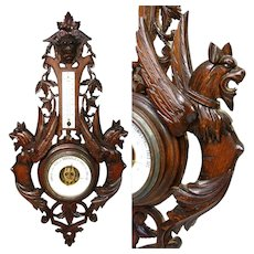 "Antique Black Forest Style Carved 27"" Wall Barometer, Thermometer, Winged Griffin Figures"
