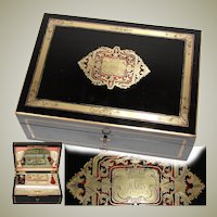 Opulent Antique French Traveler's Chest, Box, Casket 1863 Dated Boulle Inlay with Vermeil Sewing Tools, Ruby Perfume