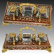 Antique Napoleon III Boulle Double Inkwell, Standish Style with Cut Crystal Wells & Stamps Box