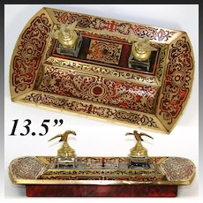 "Antique French Napoleon III 13.5"" Boulle Double Inkwell, Inkstand, Eagle Topped Inkwells with Stamp Box"