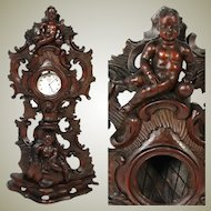 """Fabulous Carved 13.5"""" Pocket Watch or Relic Display Stand, Ornate Cherub or Putti Figures"""