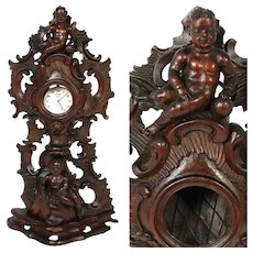 "Fabulous Carved 13.5"" Pocket Watch or Relic Display Stand, Ornate Cherub or Putti Figures"
