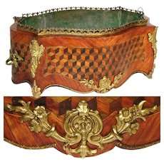 "Antique Napoleon III French 16"" Jardiniere or Plant Box, ""Tumbling Blocks"" Marquetry Inlay"