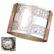 Antique French .800 Silver Napkin Ring, Foliate Textured Bands, no Monogram