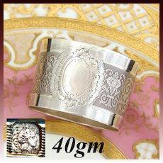 Antique French Sterling Silver Napkin Ring, Neo-Renaissance Decoration, no Monogram