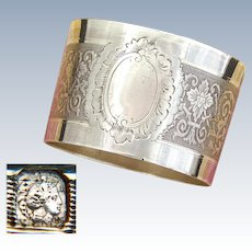 Antique French Sterling Silver Napkin Ring, Neo-Renaissance Decoration, no Monogram