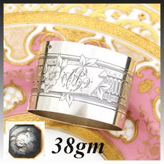"""Antique French Sterling Silver Napkin Ring, Guilloche Style Flowers & Vines, """"AC"""" Monogram"""