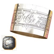 "Antique French Sterling Silver Napkin Ring, Guilloche Style Flowers & Vines, ""AC"" Monogram"