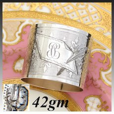 """Antique French Sterling Silver Napkin Ring, Guilloche Style Scrolling Decoration, """"PC"""" Monogram"""