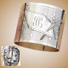 "Antique French Sterling Silver Napkin Ring, Guilloche Style Scrolling Decoration, ""PC"" Monogram"