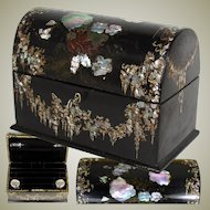Antique Victorian Papier Mache Stationery or Writer's Box with Inkwells, Mother of Pearl Inlay