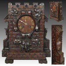 Charming Antique Black Forest Carved Mantel Clock, a Castle Tower or Turret with Ornate Foliate Accenting