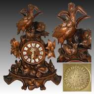 "Large Antique Black Forest Carved 17"" Mantel Clock, Three Game Birds & Foliage, Japy Freres Movement"