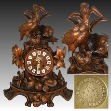 """Large Antique Black Forest Carved 17"""" Mantel Clock, Three Game Birds & Foliage, Japy Freres Movement"""