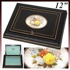 Antique French Desk Box, Letters or Keepsakes Chest, Silk Baffles, c. 1830s, HP Floral Cartouche