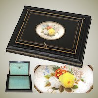 Antique French Desk Box, Letters or Keepsakes Chest, Silk Baffles, c. 1830s, HP Floral Cartouche