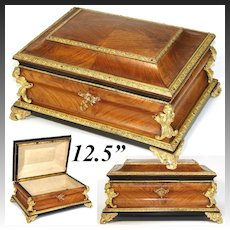 "Antique French Tahan? 12.5"" Jewelry or Sewing Box, Chest, Kingwood & Figural Gilt Ormolu"