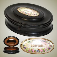"Antique Victorian Era 11"" Oval Jewelry Casket, Ebonized, HP Porcelain ""Souvenir"" Cartouche"