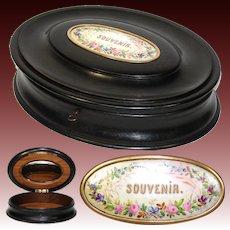 """Antique Victorian Era 11"""" Oval Jewelry Casket, Ebonized, HP Porcelain """"Souvenir"""" Cartouche"""