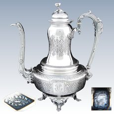 Elegant Large Antique French 48oz Sterling Silver Coffee or Tea Pot, Ornate Aesthetic Style