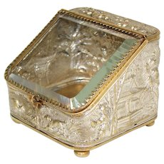 Antique French Napoleon III Era Pocket Watch Display Casket, Box:  Hunt & Chinoiserie Figural