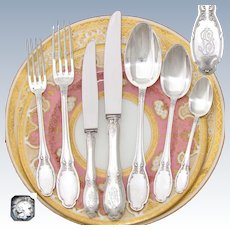 Elegant Antique French Sterling Silver 85pc Flatware Set, Louis XV Style, 6pc Place Setting ++