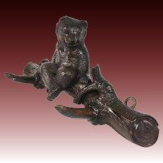 "Antique HC Wood Black Forest 12.75"" Crop Hook, Hat Rack Seated Bear w Glass Eyes"