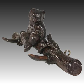 "Antique HC Wood Black Forest 12.75"" Crop Hook, Hat Rack Seated Bear w Glass Eyes"