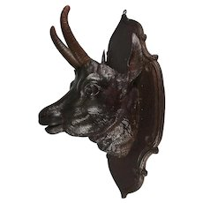 "Antique Hand Carved Wood Black Forest 15.5"" Game Plaque, Chamois Head, Jardiniere or Spill Holder"