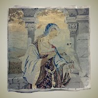 """Antique Early Georgian to Victorian Needlepoint Embroidery Sampler, Figure & Parrot Tapestry, 21.5"""" Sq. Silk, Wool"""