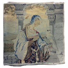 "Antique Early Victorian Needlepoint Embroidery Sampler, Figure & Parrot Tapestry, 21.5"" Sq. Silk, Wool"