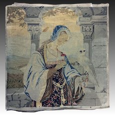 """Antique Early Victorian Needlepoint Embroidery Sampler, Figure & Parrot Tapestry, 21.5"""" Sq. Silk, Wool"""