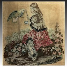 """Antique Victorian Needlepoint Embroidery Sampler, Queen Victoria, Dog, Parrot, 19"""" x 17.5"""""""