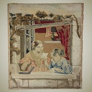 "Antique Victorian Needlepoint Embroidery Sampler Panel, Girls w Letter, No Frame 15.5"" x 13.5"""