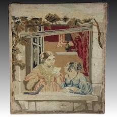 """Antique Victorian Needlepoint Embroidery Sampler Panel, Girls w Letter, No Frame 15.5"""" x 13.5"""""""