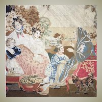 """Stunning Antique Georgian to Early Victorian Micro Needlepoint Embroidery Panel, 23"""" x 19"""", Tapestry w Dog"""