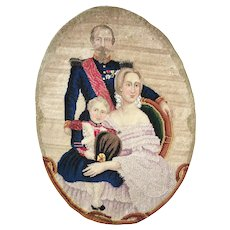 Antique Needlepoint Sampler, Tapestry, French Napoleon III Family, c.1850, to Frame or Pillow
