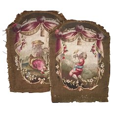 Pair (2) Antique French Aubusson Tapestry Panels, Children, Former Chair Backs Next: Pillows