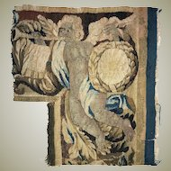"Antique c.1700s French Gobelin Tapestry Fragment, Figural, Putti, 15"" x 14"" Corner Salvaged Panel"