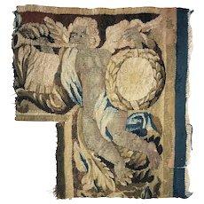 "Antique c.1700s French Gobelin Tapestry Fragment, Figural, Putti, 15"" x 14"" Corner"