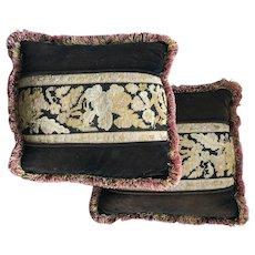 "Antique Victorian Needlepoint & Velvet Throw Pillow Pair, Down-filled, 19"" x 18"""