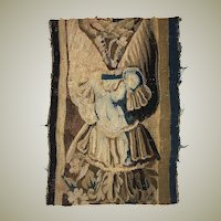 """Antique French or Flemish Tapestry Fragment, Panel, Knight's Armor 12.5"""" x 9.5"""", c.1700"""