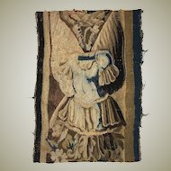 "Antique French or Flemish Tapestry Fragment, Panel, Knight's Armor 12.5"" x 9.5"", c.1700"