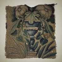 "Antique Flemish Tapestry Fragment, Panel, Chalice or Goblet & Leaves, 10.5"" Sq. c.1600s"