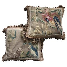 Stunning, RARE c.1600s Gobelin Panel Pair (2), Parrots, Made into Silk-backted Opulent Throw Pillows, Down-filled