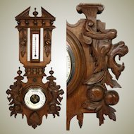 "Antique Victorian Black Forest Style Carved 27"" Wall Barometer & Thermometer, Griffin Figures"