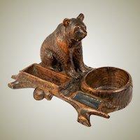 Antique Hand Carved Black Forest Bear, A Superb Smoker's Stand, Match Holder